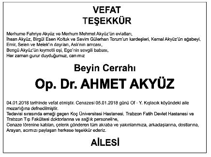 Ahmet Akyüz Teşekkür İlanı