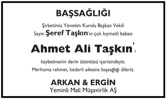 Ahmet Ali Taşkın Başsağlığı İlanı