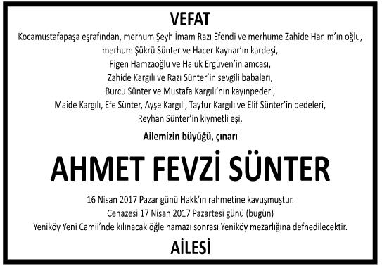 Ahmet Fevzi Sünter Vefat İlanı