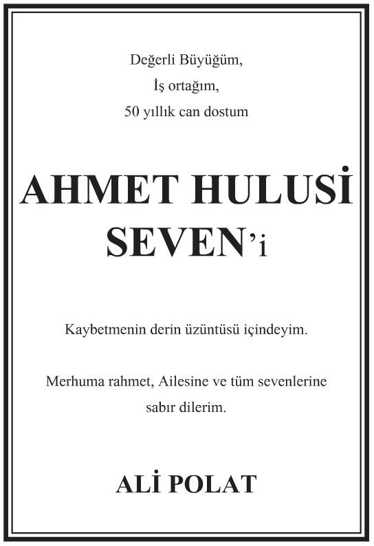 Ahmet Hulusi Seven Vefat İlanı