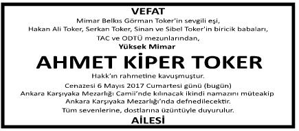 Ahmet Kiper Toker Vefat İlanı