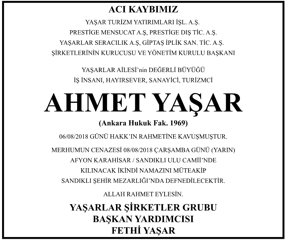 Ahmet Yaşar Vefat İlanı