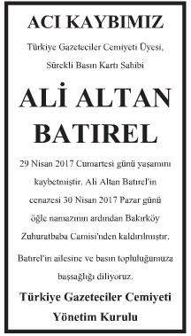 Ali Altan Batırel Vefat İlanı