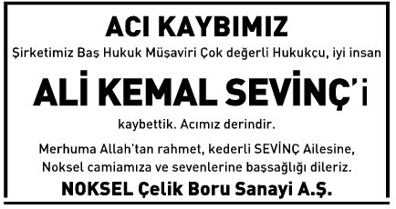 Ali Kemal Sevinç Vefat İlanı