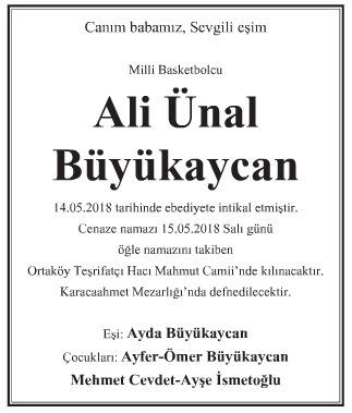 Ali Ünsal Büyükaycan Vefat İlanı