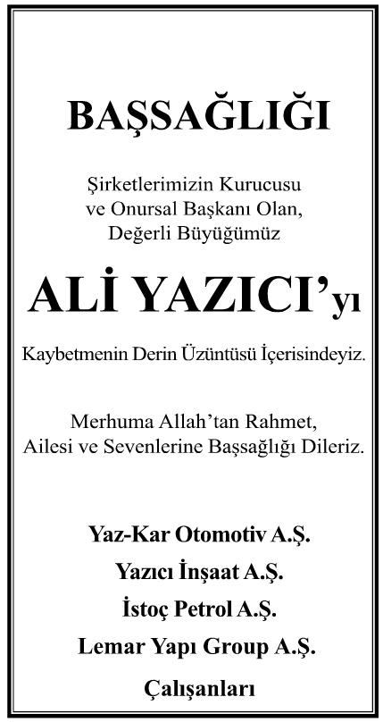 Ali Yazıcı Başsağlığı İlanı
