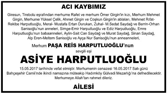 Asiye Harputluoğlu Vefat İlanı