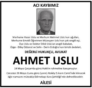 Avukat Ahmet Uslu Vefat İlanı