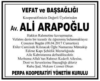 Avukat Ali Arapoğlu Başsağlığı İlanı