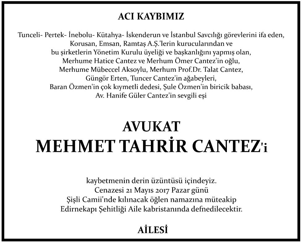 Avukat Mehmet Tahrir Cantez Vefat İlanı