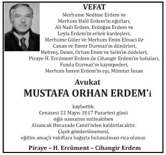 Avukat Mustafa Orhan Erdem Vefat İlanı