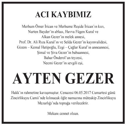 Ayten Gezer Vefat İlanı