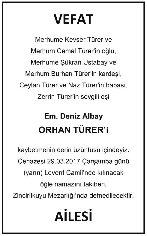 Deniz Albay Orhan Türer Vefat İlanı