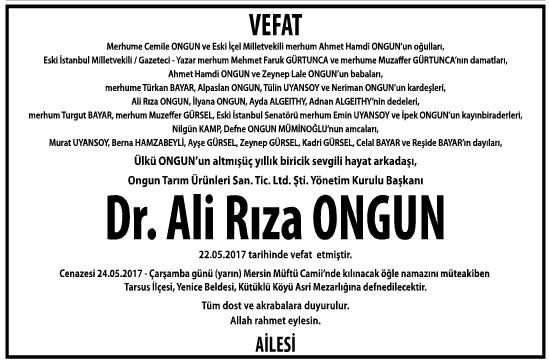 Doktor Ali Rıza Ongun Vefat İlanı