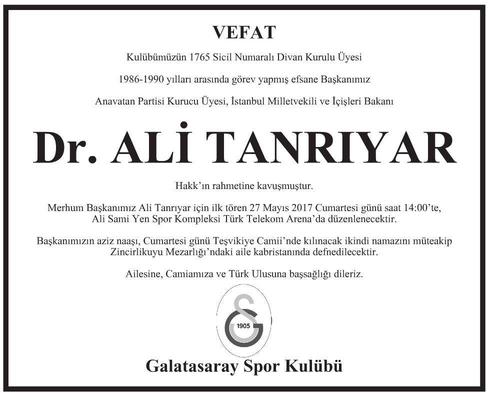 Doktor Ali Tanrıyar Vefat İlanı