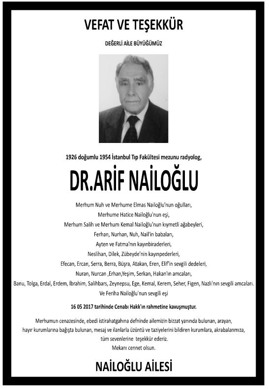 Doktor Arif Nailoğlu Vefat İlanı