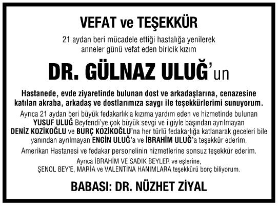 Doktor Gülnaz Uluğ Teşekkür İlanı