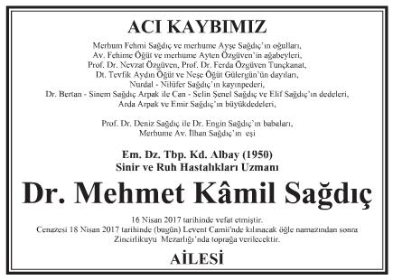 Doktor Mehmet Kâmil Sağdıç Vefat İlanı