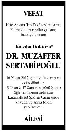Doktor Muzaffer Sertabipoğlu Vefat İlanı