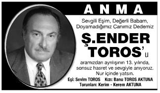 Ender Toros Anma İlanı