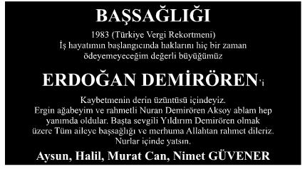 Erdoğan Demirören Başsağlığı İlanı