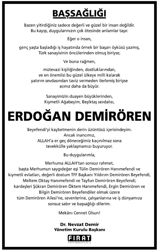 Erdoğan Demirören Vefat İlanı