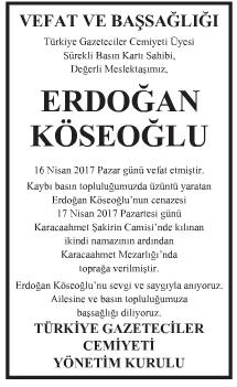 Erdoğan Köseoğlu Vefat İlanı
