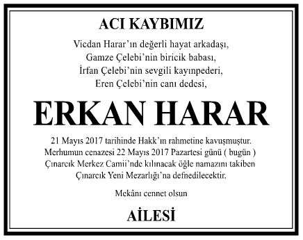 Erkan Harar Vefat İlanı