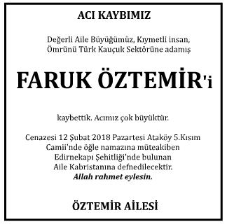 Faruk Öztemir Vefat İlanı