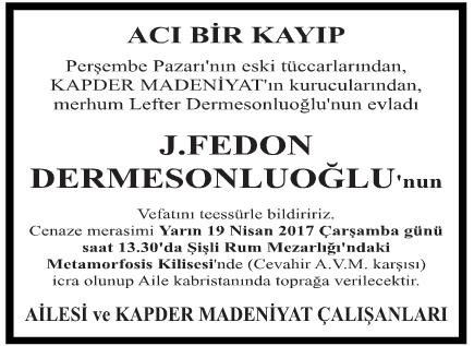 Fedon Dermesonluoğlu Vefat İlanı