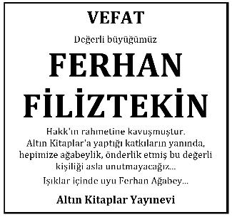 Ferhan Filiztekiin Vefat İlanı