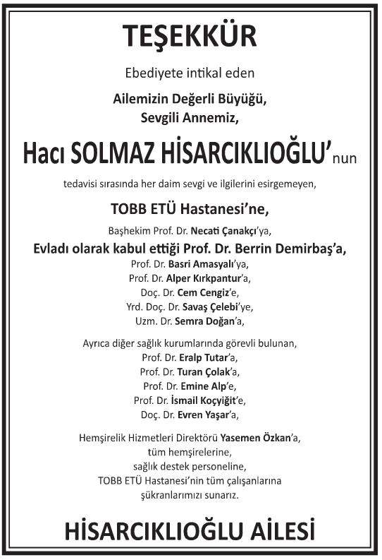 Hacı Solmaz Hisarcıklıoğlu Teşekkür İlanı