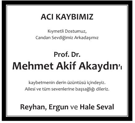 Mehmet Akif Akaydın Vefat İlanı