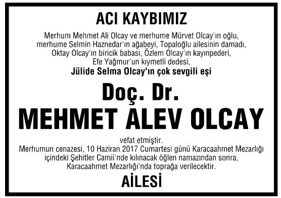 Mehmet Alev Olcay Vefat İlanı