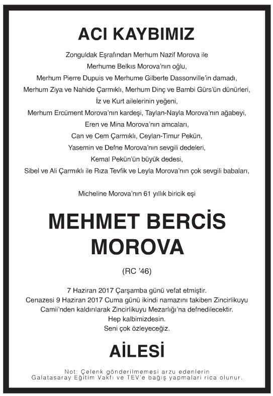 MEHMET BERCİS MOROVA Vefat İlanı