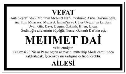 Mehmet Dai Vefat İlanı