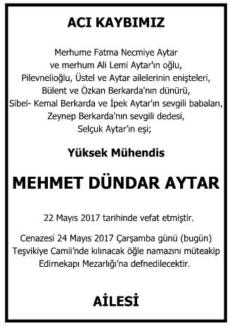 Mehmet Dündar Aytar Vefat İlanı