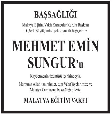 Mehmet Emin Sungur Başsağlığı İlanı