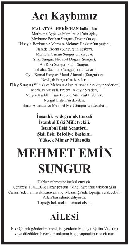 Mehmet Emin Sungur Vefat İlanı