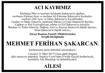 Mehmet Ferihan Şakarcan Vefat İlanı