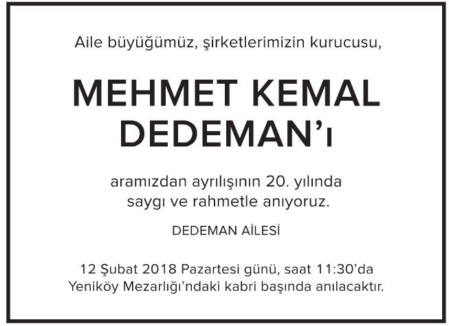Mehmet Kemal Dedeman Vefat İlanı