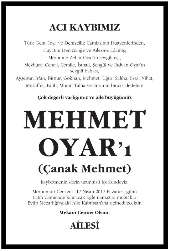 Mehmet Oyar Vefat İlanı