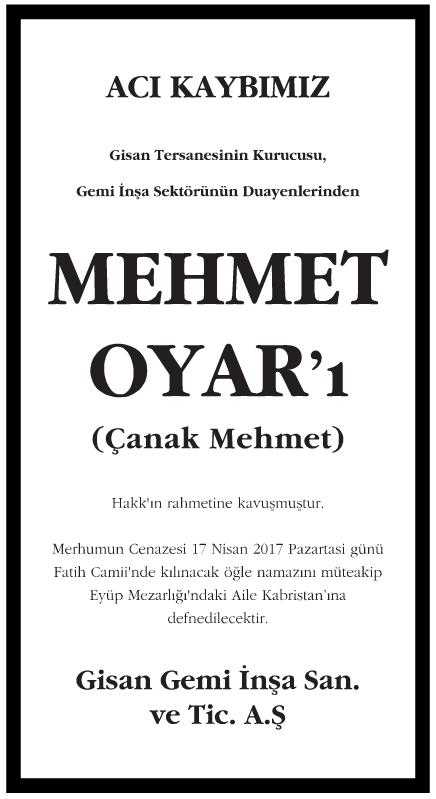 Gisan Tersanesinin Kurucusu Mehmet Oyar Vefat İlanı