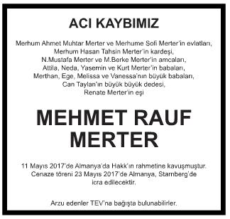Mehmet Rauf Merter Vefat İlanı