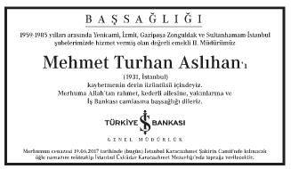 Mehmet Turhan Aslıhan Başsağlığı İlanı