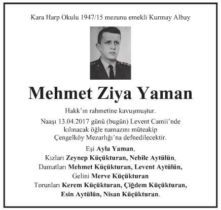 Mehmet Ziya Yaman Vefat İlanı