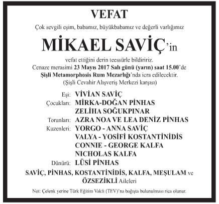 Mikael Saviç Vefat İlanı