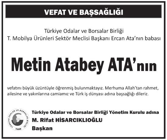 Mobilya Ürünleri Sektör Meclisi Başkanı Metin Atabey Ata Başsağlığı İlanı