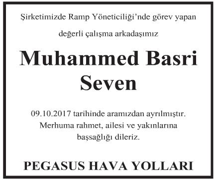 Muhammed Basri Seven Vefat İlanı