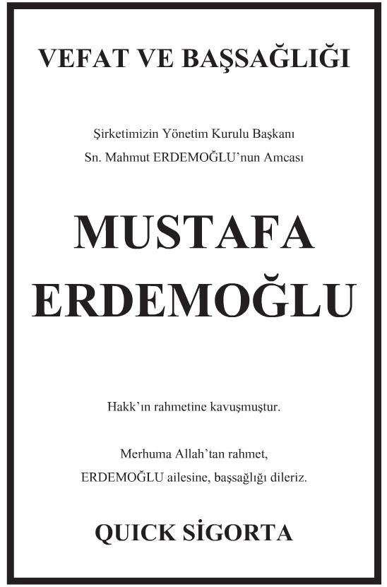 Mustafa Erdemoğlu Başsağlığı İlanı